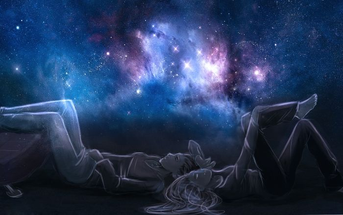 Обои на рабочий стол Аниме:Небо, Двое, Парень, Ночь, Призраки, Звезды, Девушка - скачать бесплатно.   Обои-на-стол.com