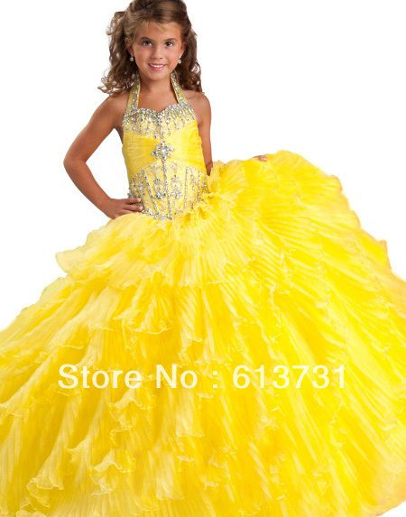 Free Shipping 2013 Halter Yellow Girls Prom Pageant Dresses Long Beaded Layered flower girl dresses 10 years old RG 6135 $109.60