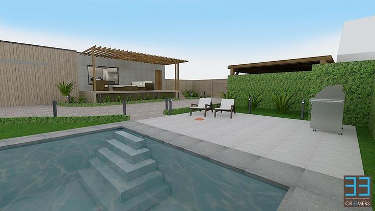 Renovation concept for interior and garden / pool. Modern living area with the dining room and kitchen in olive color accents. Renovatie concept voor het interieur en exterieur alsook tuin  en zwembad. Meer info op www.cr33mers.be