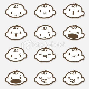 Icon Set - Baby Face ( Emoticons ) Royalty Free Stock Vector Art Illustration