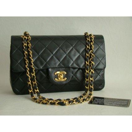 Chanel Black Lambskin Double Flap Bag - Chanel - Brands   Portero Luxury
