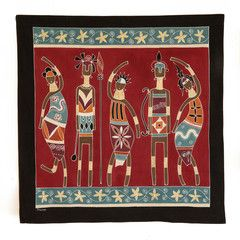 Wall Hangings ~ Ladies and Warriors Designs $95.00 USD  Extra Large Multi-purpose wall hanging depicting athletic warriors and graceful ladies in striking terracotta and red colourway. Hemmed all around with full-width pocket along top edge for hanging pole. Can also be used as a Tablecloth or throw.