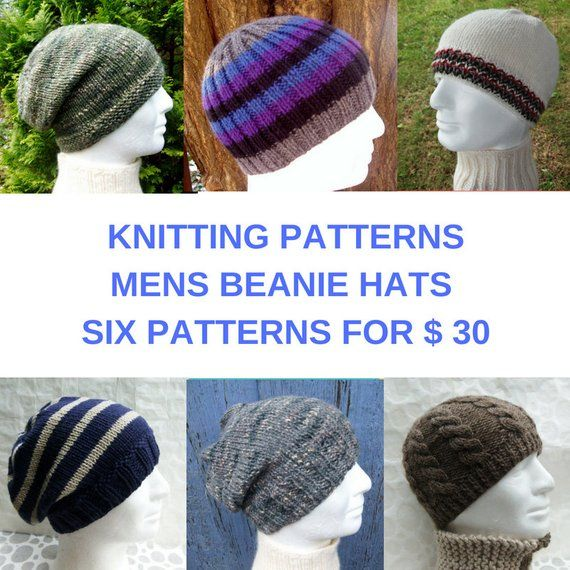 67c2ce37ca5 Mens Hat Knitting Patterns 6 for  30 Pattern Bundle Great Gifts for Men and  teen Boys for Holidays