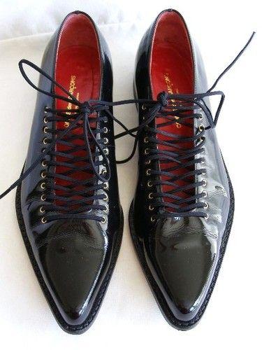 Comme Des Garcons Black Patent Loafers Elastic Lace Up Front