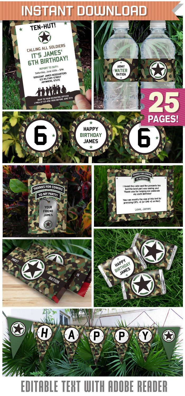 Army Party Invitation & Army Party Decorations - Army Party - INSTANT DOWNLOAD - EDIT and print at home using Adobe Reader by PartyPrintables2go on Etsy