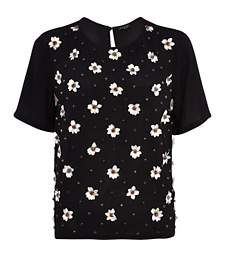 Black flower embellished t-shirt £40.00