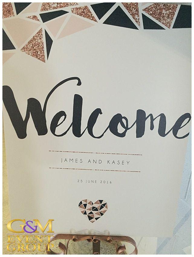 Kasey & James' wedding @ the Joinery West End - Welcome Card | Wedding Lighting #warehousewedding #uplighting #weddinglighting #gmeventgroup