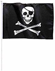 Widmann - Bandiera Pirata con Supporto, 43 x 30 cm