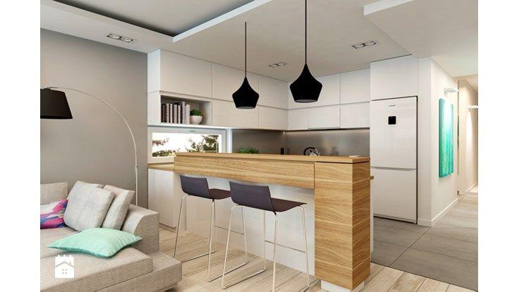 Mieszkanie Rembertów 80 m2 - Średnia otwarta kuchnia w kształcie litery u, styl nowoczesny - zdjęcie od design me too
