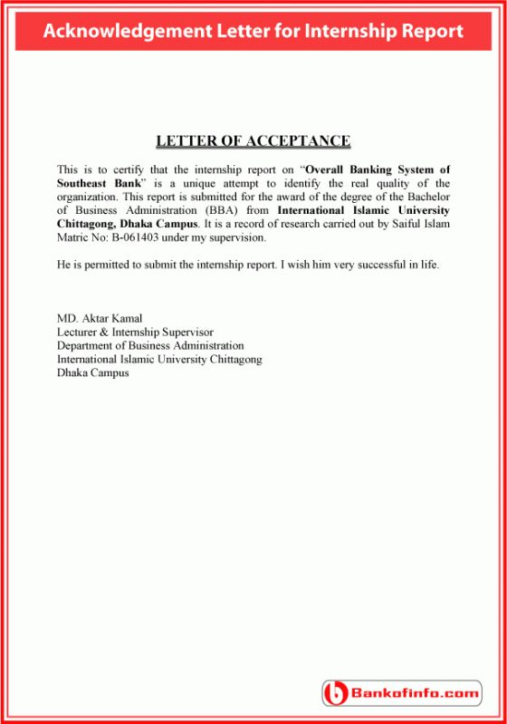 sample acknowledgement letter for internship report