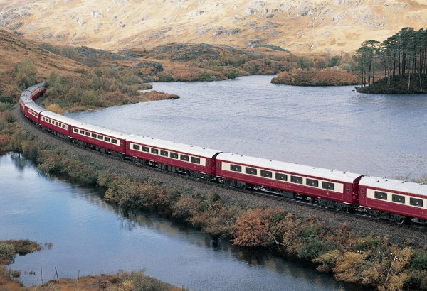 The Orient Express Northern Belle travels throughout Britain on round-trip champagne/lunch day trips.