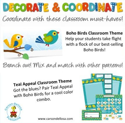 This school year we created more ways for you to mix and match to make your classroom one of a kind! Try new Boho Birds with Teal Appeal. #bohobirds #carsondellosa