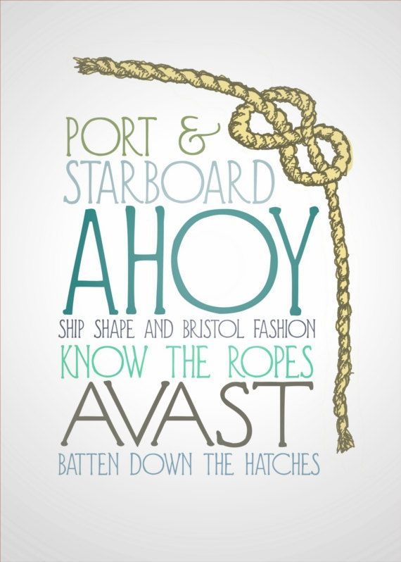 Nautical Terms 5x7 Typography and Illustration Art by FlourishCafe, $15.00