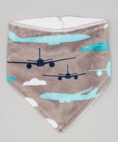 Gray Minky Airplane Bandanna Bib by Lolly Gags #zulily #zulilyfinds