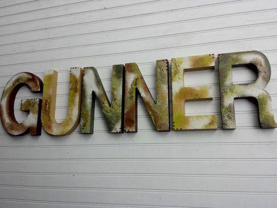 Boy Name Letters  Rustic Wall Letters  by HappyMooseGardenArt
