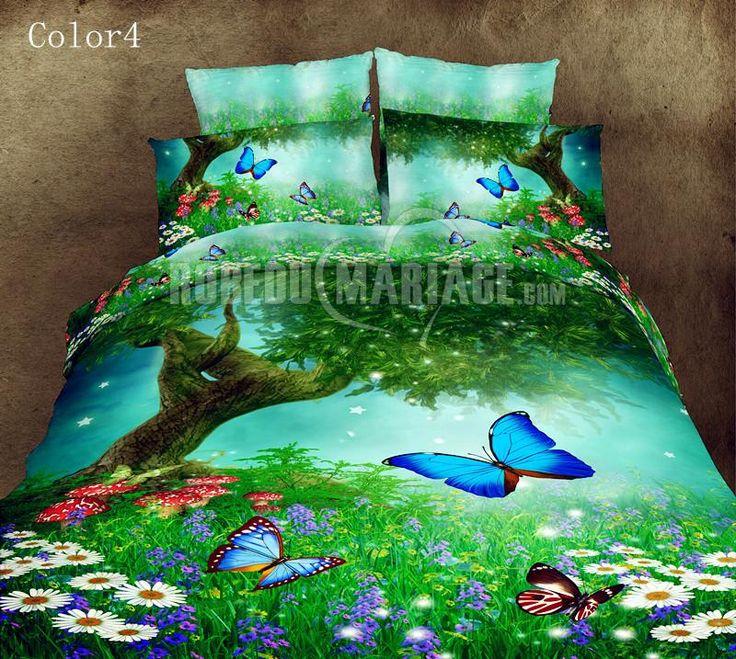 Housse de couette 3D pour deux personnes décorée par les papillons [#ROBE2012778] - robedumariage.com