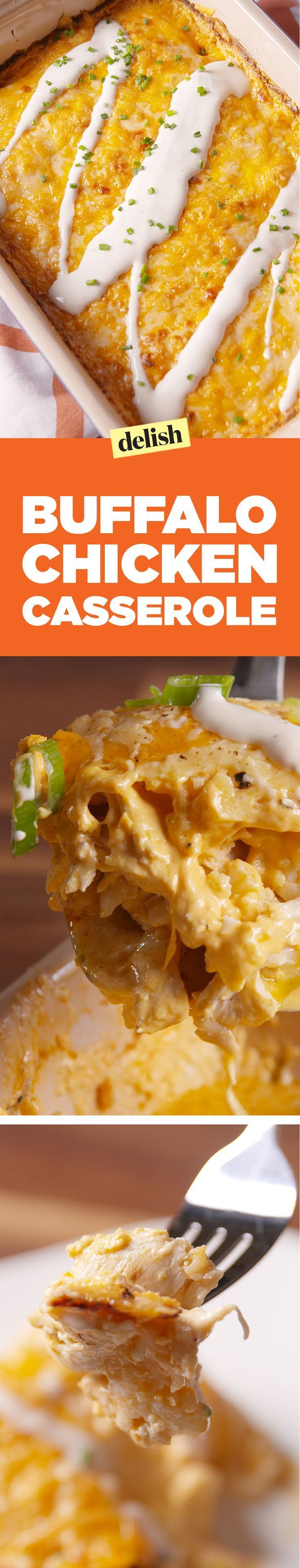 Buffalo chicken casserole will be your favorite low-carb dinner of fall. Get the recipe on http://Delish.com.