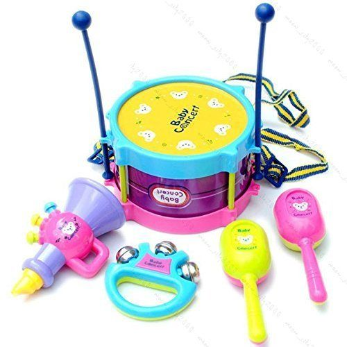 Baby Roll Drum Musical Instruments Kids Drum Set Children Toy 5 Pcs Drum with Drum Sticks Saxophone Whistle Maracas Tambourine >>> Click image to review more details.Note:It is affiliate link to Amazon.