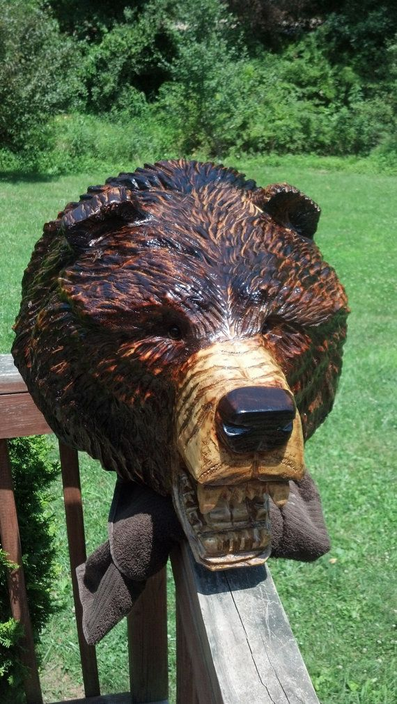 Chainsaw Carving Chainsaw Carved Grizzly by GearysCustomCarvings
