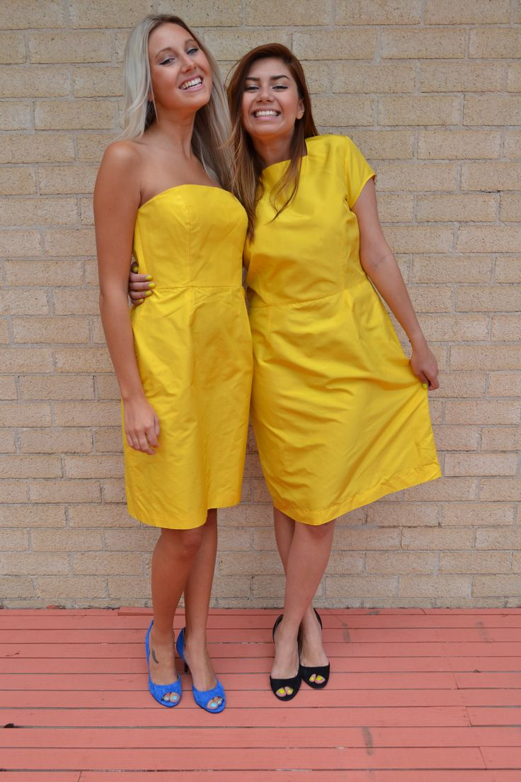 Gorgeous bridesmaids dresses, love the bright yellow.