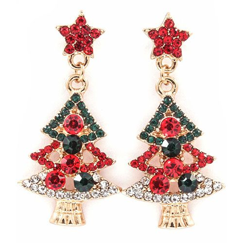 Holly Christmas Tree Earrings