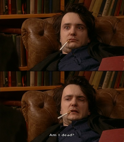 """""""I woke up a little hungover, so I went to the chemist to get some Fizzy Good. You know, Fizzy-Good-Make-Feel-Nice."""" """"Ahh, Alka-Selzer."""" Black Books (2000-2004)"""