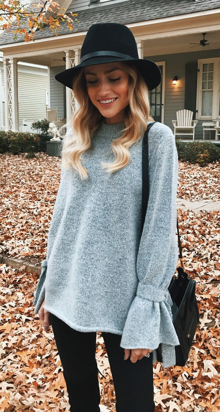 #winter #outfits gray trumpet sleeved blouse and black bottoms outfit