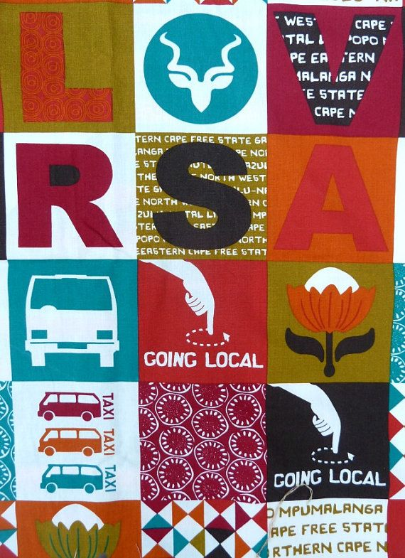 LOVE South Africa Fabric  sold by the 1/2 meter  by MathildeAndCo, £7.50