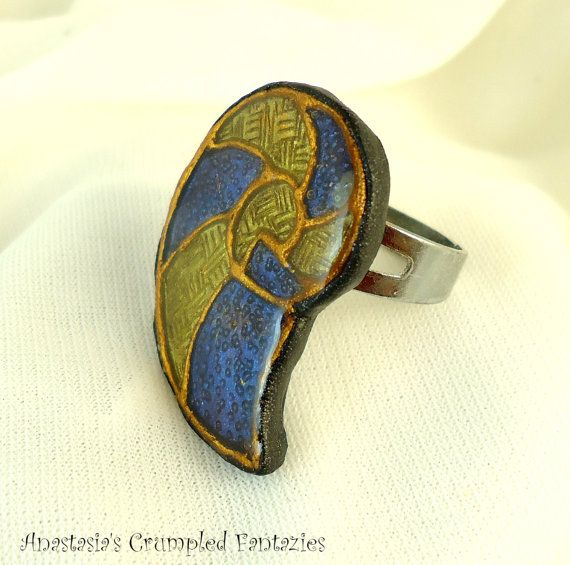 Faux cloisonne nautilus yellow blue gold by CrumpledFantazies