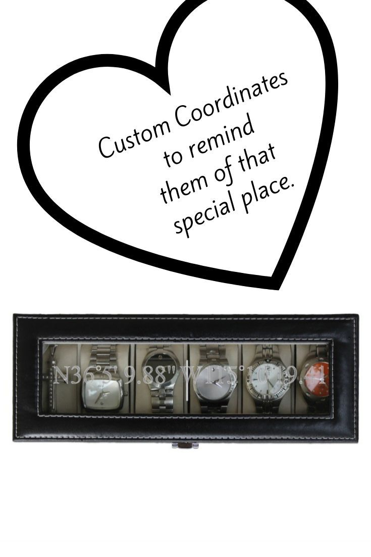 Coordinates Engraved Watch Box Latitude And Longitude Gifts For Him