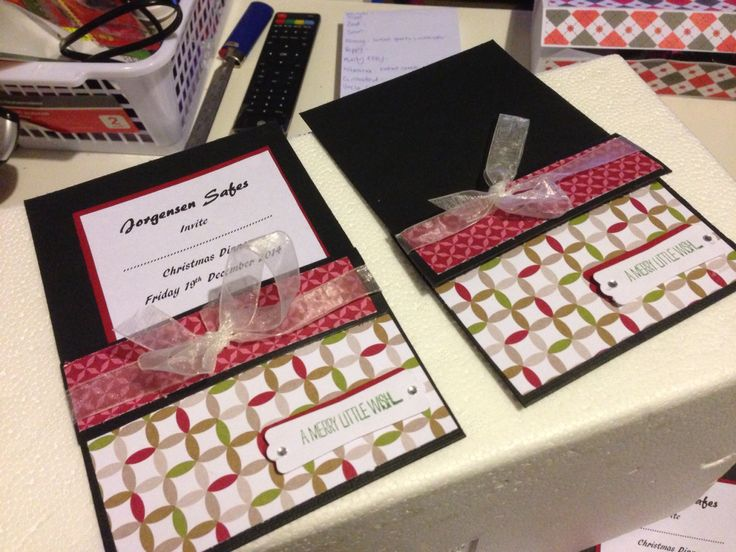 Xmas party invitations handmade by Kerry http://scrappyboxcrafts.com