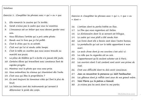 Pronoms relatifs qui, que et dont | Pronoms relatifs ...