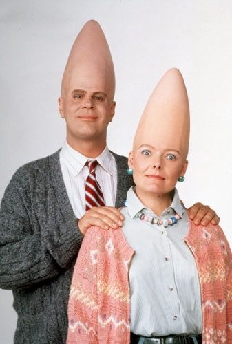 Cone Heads / Dan Aykroyd & Jane Curtin. Two of the people that made Saturday Night Live worth watching in the 70's