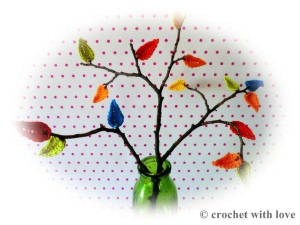 Gehäkelte Blätter, Herbstdeko - kostenlose Häkelanleitung