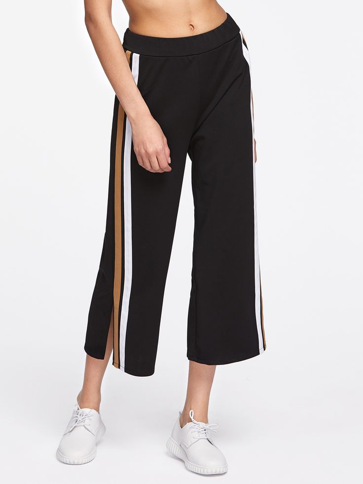 Shop Slit Side Stripe Cropped Palazzo Pants online. SheIn offers Slit Side Stripe Cropped Palazzo Pants & more to fit your fashionable needs.