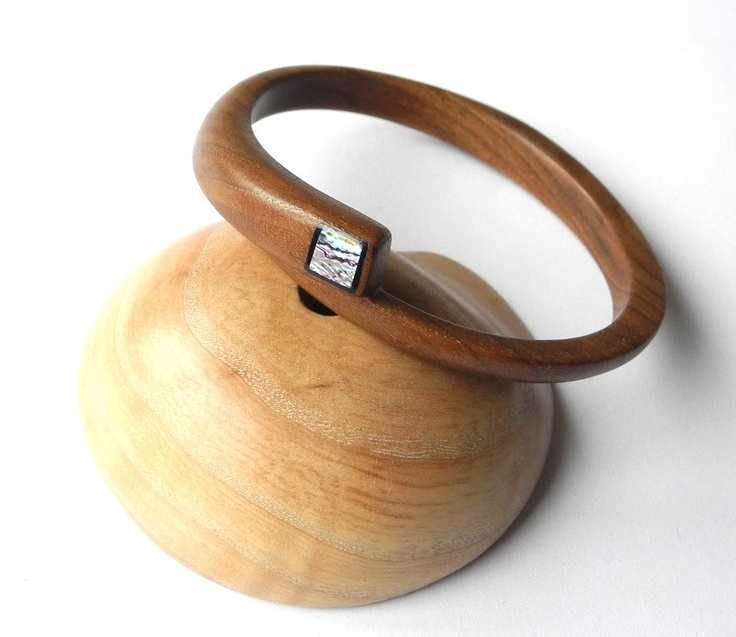 Bangle | Petya and Emil.  Walnut wood and mother of pearl.
