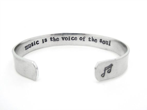 music gift, music bracelet, music lover, where words fail music speaks, hand stamped jewelry, hidden message bracelet -- music is the voice of the soul hidden secret by WyomingCreative