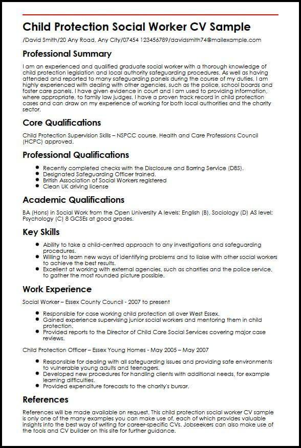 Cv Template Social Work Social Work Resume Skills Sample Resume