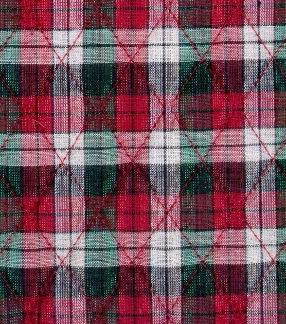 Holiday Inspirations Fabric-Christmas Metallic Plaid: