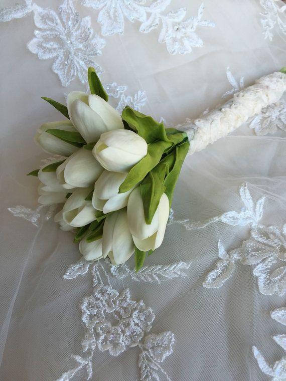 White Tulip Bouquet Real Touch Bouquet Tulip by MerryMeBouquets #tulips #flowers #bouquet