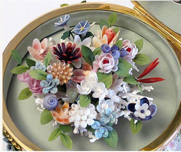 Details about  /Antique Victorian Shell Flower bouquet Seashell Bouquet handcrafted Decor