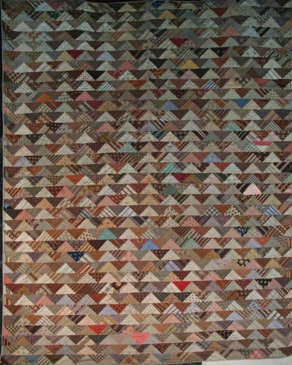 vintage quilts | TRIANGLES IN ROWS ANTIQUE 'CHARM' QUILT