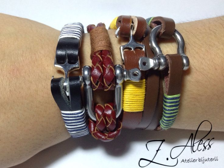 Leather bracelets with steel and zamak accessories by Z.Aless.
