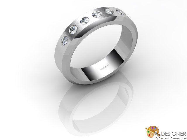 Gay Mens Wedding Ring - Designer Diamond Flat-court (comfort Fit) Platinum - Designed and Manufactured by DiamondGeezer.com