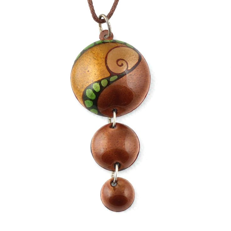 Earth colour enamel on copper necklace by intuitashop on Etsy