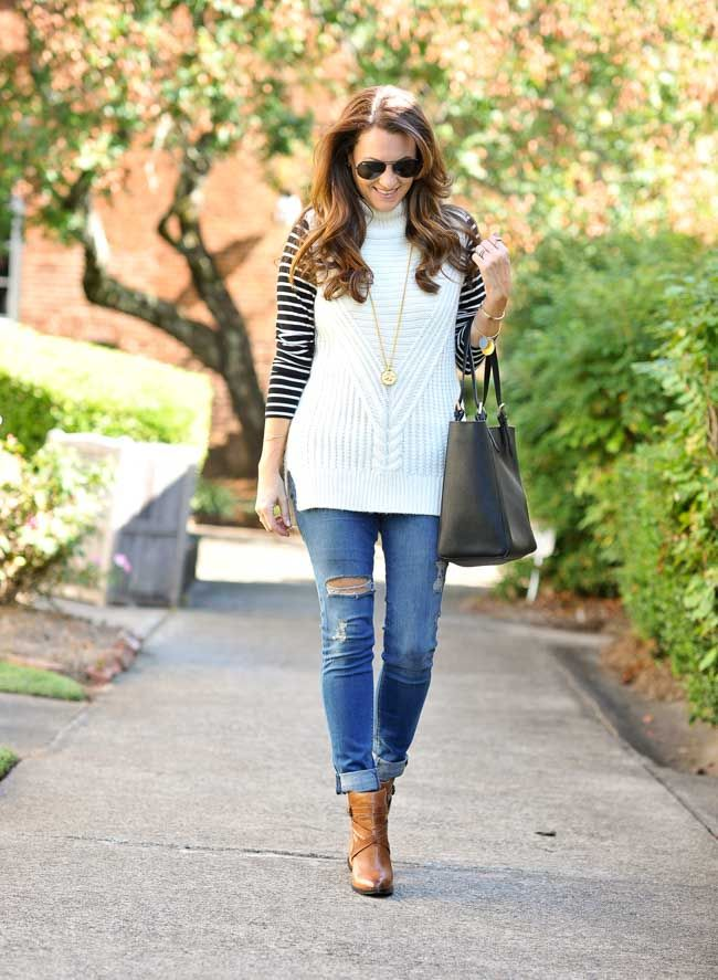 Layered sleeveless sweater outfit for fall via Peaches In A Pod blog. Cute fall outfit inspiration with leather ankle boots, distressed denim, and stripes.