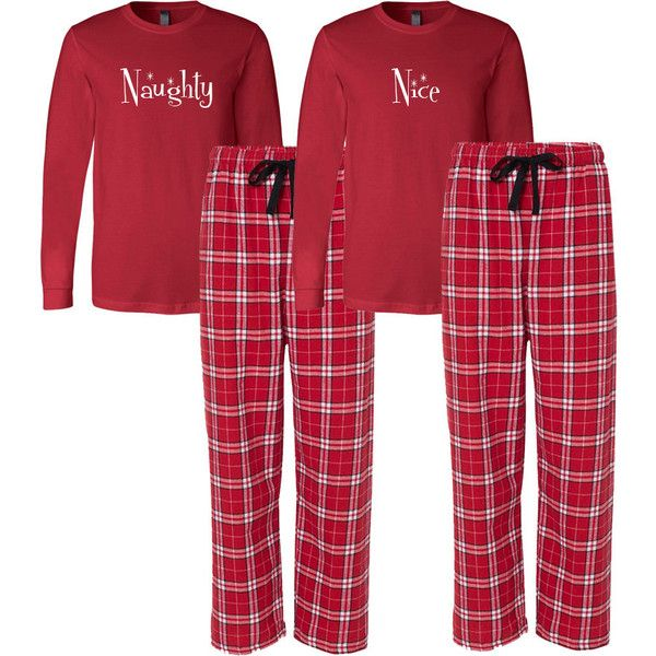 Naughty and Nice Flannel Pj Set Adult Christmas Pajamas Couple's... ($72) ❤ liked on Polyvore featuring intimates, sleepwear, pajamas, grey, women's clothing, christmas pajama sets, christmas sleepwear, flannel sleepwear, flannel pjs and christmas pyjamas