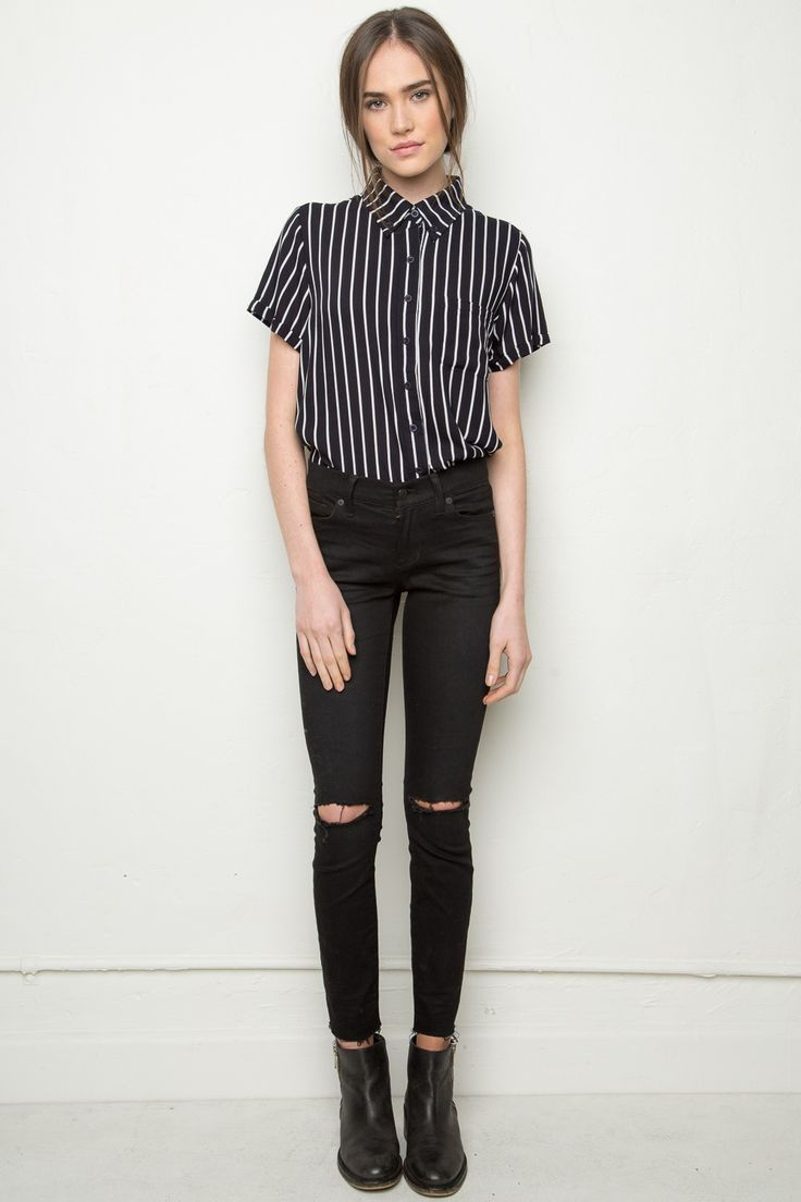 $30.00 Brandy ♥ Melville | Peyton Shirt - blouses & button ups - Tops - Clothing