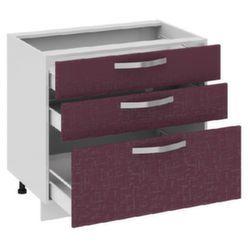 Шкаф нижний с 3-мя ящиками Н3я_72-90_3Я Цвет: Баклажан Кухня Сингапур