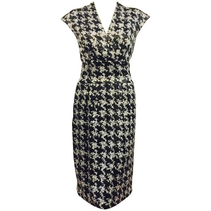 Escada Black and White Silk Blend Abstract Houndstooth Cocktail Dress